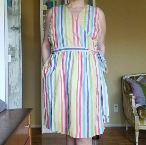 1b1f3457ba4 Tommy Hilfiger Rainbow Striped Wrap Dress. M_5acda74b45b30cecadf36cbb
